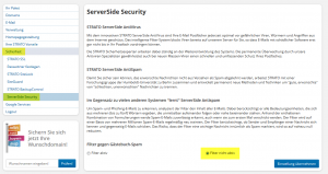 Screenshot Strato ServerSide Security AntiSpam